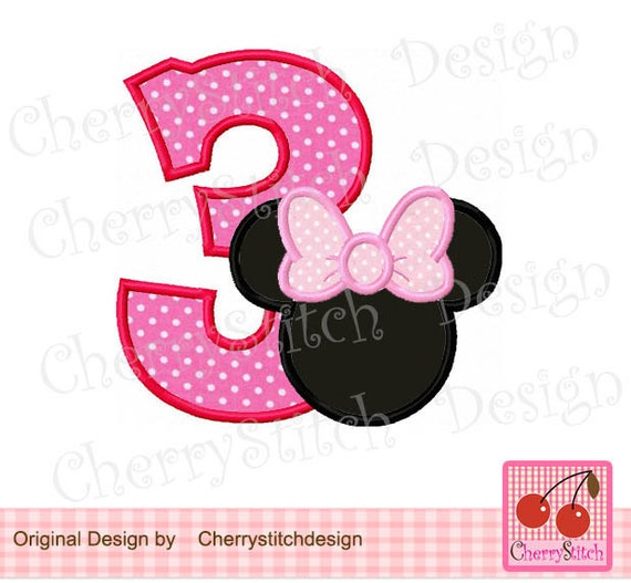Minnie number 3 Birthday number Machine embroidery applique
