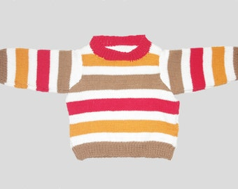 baby pullover, knitted baby pullover, striped baby pullover