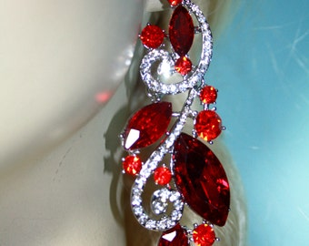 Rhinestone Chandelier Earrings Bridal Prom Pageant 3.6 inch Red Drag Pageant