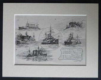 1903 Antique Nautical Print of International Navy Ships World steam ship decor, Edwardian military art - Old Naval Gift - Warship Picture