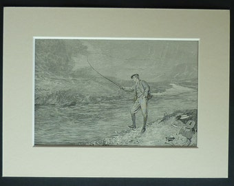 1880s Antique Angling Print, Fly Fishing Decor, Available Framed, Angler Art, Isle of Arran Picture, John Pettie Wall Art, Firth of Clyde