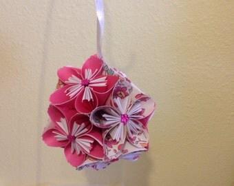 Clearance - Half Price - Pretty Pink & White  Kusudama Flower  Ball-KFB4