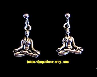 Sukhasana Yoga Pose Pendant Earrings