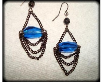 Royal Blue Beaded Black Chain Earrings