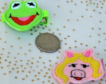 Muppets Feltie Hair Clips - Kermit the Frog and Miss Piggy Felties - Muppet Party/Felt Party Favor-Muppet Accessory-Muppet Hairbow-BowBravo
