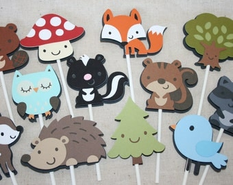 Woodland Cupcake Toppers / Woodland Animals / Woodland Birthday