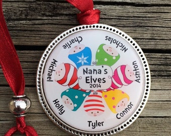 Personalized Christmas Ornament/Santa's Elves!!! Keepsake Personalized Children's Ornament Set Under Jewelers Grade Resin 1 1/2 size