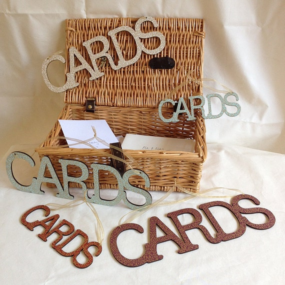 Wedding Hanging 'Cards' Box Sign Wooden Bunting Vintage By