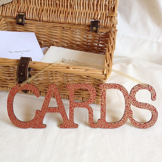 Wedding Hanging 'Cards' Box Sign Wooden Bunting