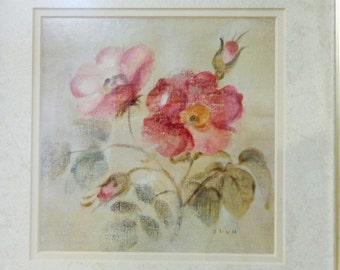 Cheri Blum Burgundy Rose framed print signed BLUM on plate vintage made to look antique price has been reduced 33%