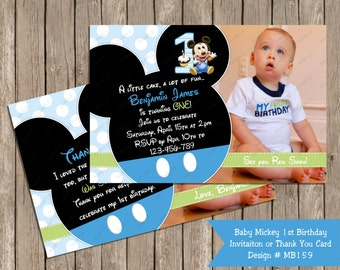 Mickey Mouse Baby 1st First Birthday Invitation OR Thank you Card Note A No Pictuer option as well