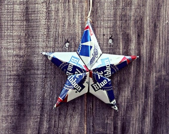 Upcycled PBR Pabst Blue Ribbon Beer Can Star Ornament
