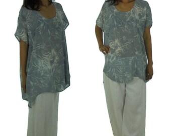 AB600 Women's Tunic Blouse Chiffon Layered Look Gr. 36-42 gray / white