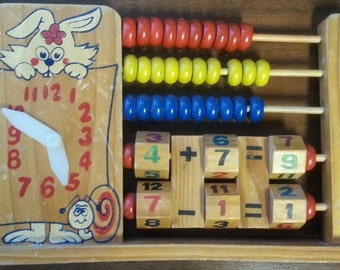 Child's teaching Abacus, clock, mathematics, calculation, wooden toy from the 1950's