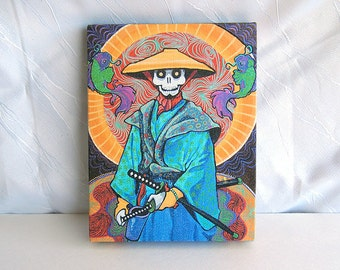 Day of the Dead Art wrapped canvas PRINT 7x9 Samurai Warrior Gift for Him Bushido Japanese Fighter Tattoo Art