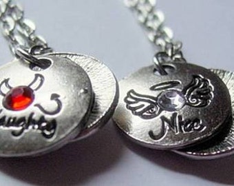 Naughty or Nice Handmade Necklace for showing your mood.