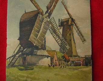 Nicolas Markovitch (A Marc) Print of Watercolor Painting of Outwood Post Mill near Redhill, Surrey