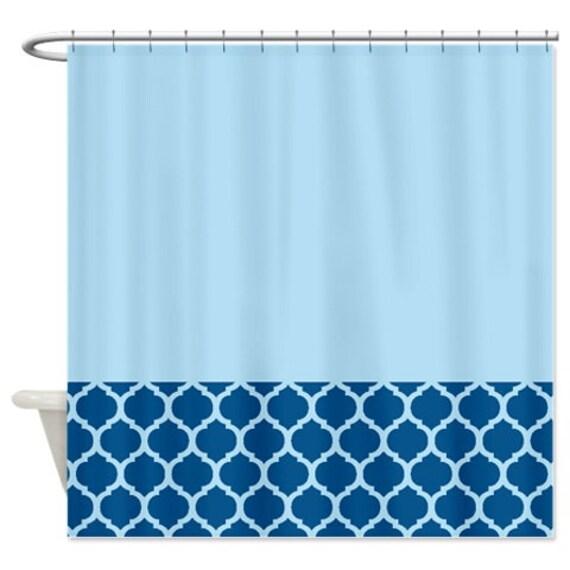 quatrefoil shower curtain midnight blue light blue pattern or