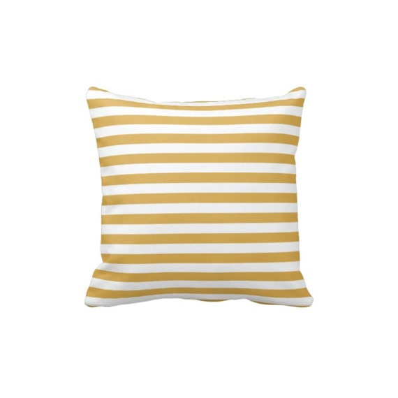 Honey Gold Throw Pillow : Custom Thin Striped Throw Pillow & Cover-Honey Gold and White