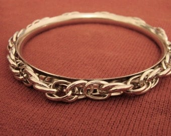 Womens Bracelet Vintage Costume Jewelry Silver Plated Fixed Thick Link  Bracelet Jewelry