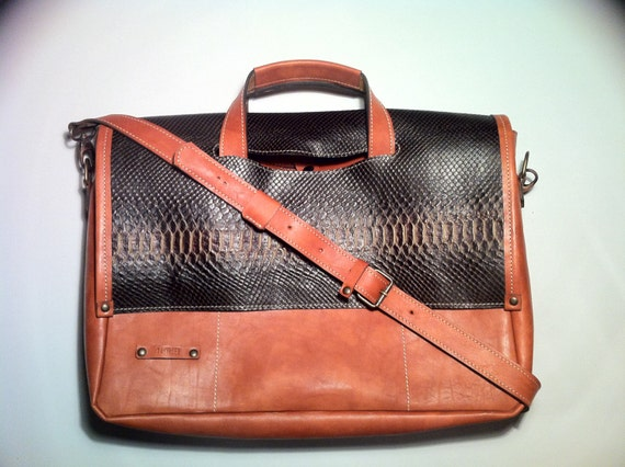 """17"""" Business Snake leather Briefcase, Distressed Vachetta Tan Leather Bag,Handmade Woman Briefcase,Laptop Bag,Laptop hand bag"""