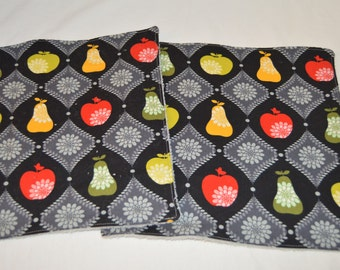 6 or 12- Fruits on black and gray reusable Non paper towel Roll