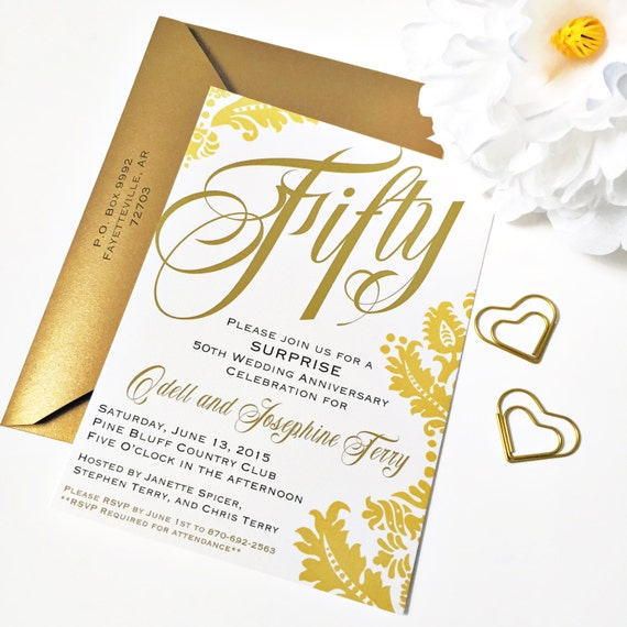 Digital invitation printable 50th anniversary invitations golden il570xn stopboris Images