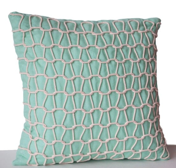 Decorative Pillow Cases : Items similar to Teal Decorative Pillow Cover -Silk Pillow Cases -Teal White Cord Pillows -18x18 ...