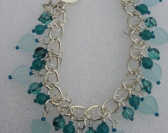 Turquoise Hearts charm bracelet