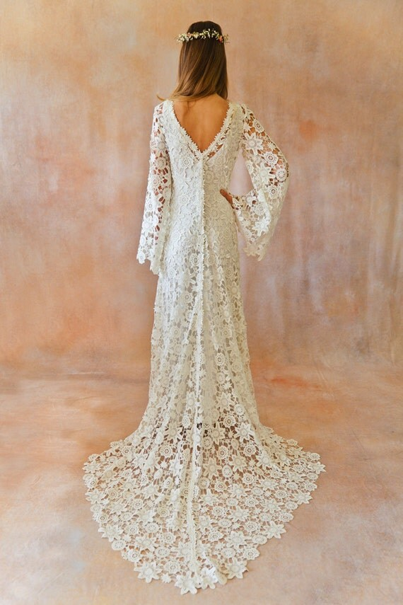 Boho Wedding Dress Bell Sleeve Simple By Dreamersandlovers