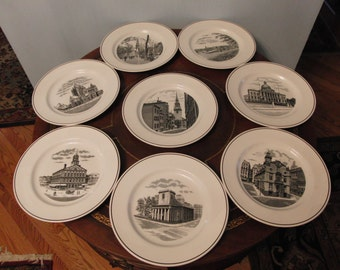 Vintage R.H. Stearns Company Centennial  plates (set of 8 plates)