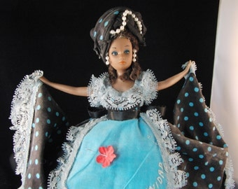 Vintage doll in national costume Trinidad and Tobago