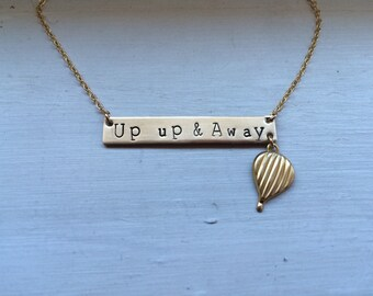Hot air balloon necklace, up up and away, gold bar necklace, moving gift, traveler, explorer