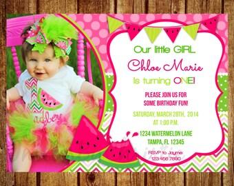 Pink and Green Watermelon Photo Birthday Invitation- Digital File- DIY Printable Watermelon Invitation, 1st, 2nd, 3rd, 4th, 5th, 6th, 7th