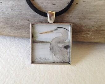 Heron Pendant Handmade with Watercolor Art Print