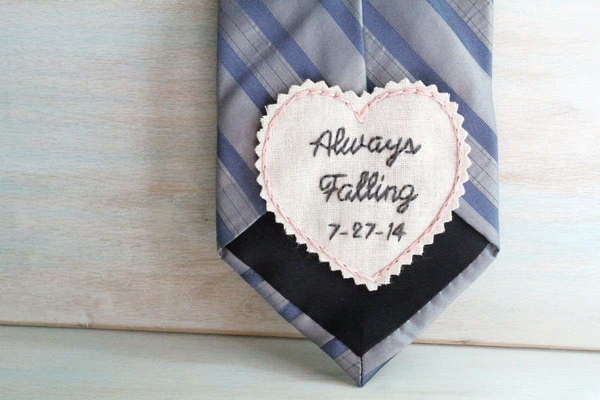 Anniversary gift hand embroidered tie patch for him