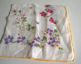 Vintage Petite Garden Fairy Blossoms Handkerchief --- Something Old Something Borrorwed Bridal Wedding Linen -- English Garden Afternoon Tea