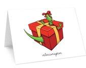 Dinosaur holiday card -  velociraptor pun
