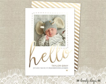 Baby Announcement Birth Announcement Gold Template INSTANT DOWNLOAD