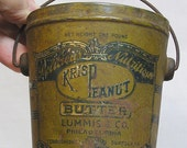Advertising Krisp Peanut Butter Tin Pail Lummis and Company Philadelphia, PA. / Hard to Find PB Item