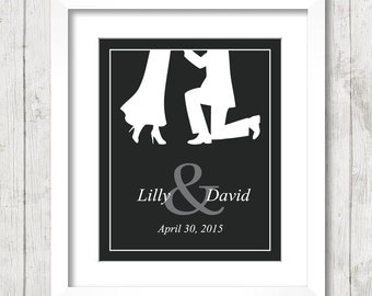 8x10 Proposal Silhouette - Will You Marry Me? - Future Mr. and Mrs. - Personalized Engagement Gift - Bridal Shower - Keepsake