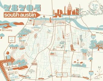 78704 South Austin Poster // Austin Texas Print Poster