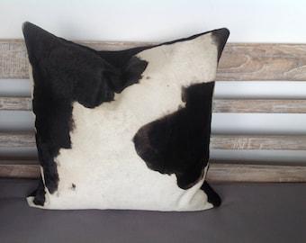 Hide Cushion, Cows Hide - Black & White Fur Cushion Pillow Case, Scatter Cushion, Decorative Throw Pillow