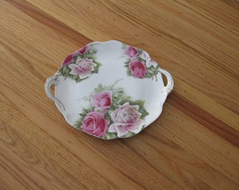 """ROSENTHAL BAVARIA DISH With Roses 11"""" With Handles"""