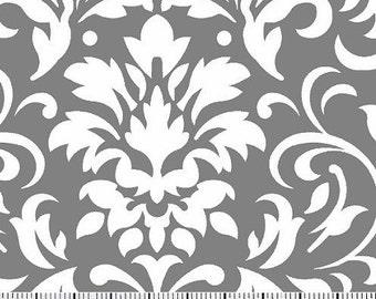 White on Gray Damask Fabric --- Damask Fabric --- Fabric By The Yard
