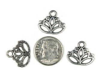 Antique Silver Open Lily Pad Charms 20 QTY