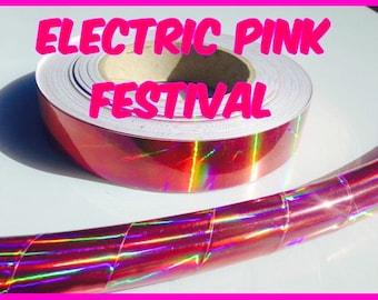 "3/4"" Electric Pink Festival Metallic Hula Hoop Tape"
