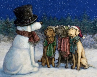 Labrador Retreiver Art Print of Yellow Chocolate and Black Labs making a Snowman