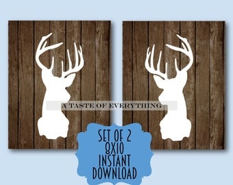Nursery Decor INSTANT DOWNLOAD set of 2 deer antler silhouette signs printable man cave boy room decor gift baby shower sign wedding printab