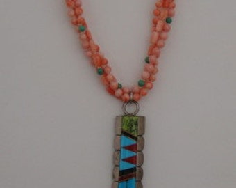 Vintage Salmon CORAL NECKLACE with Sterling Silver, TURQUOISE, Coral Tassel